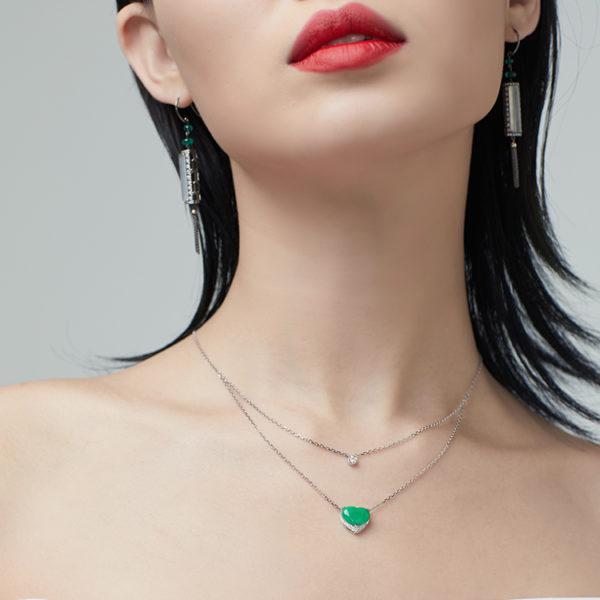 Green Jade Heart Necklace