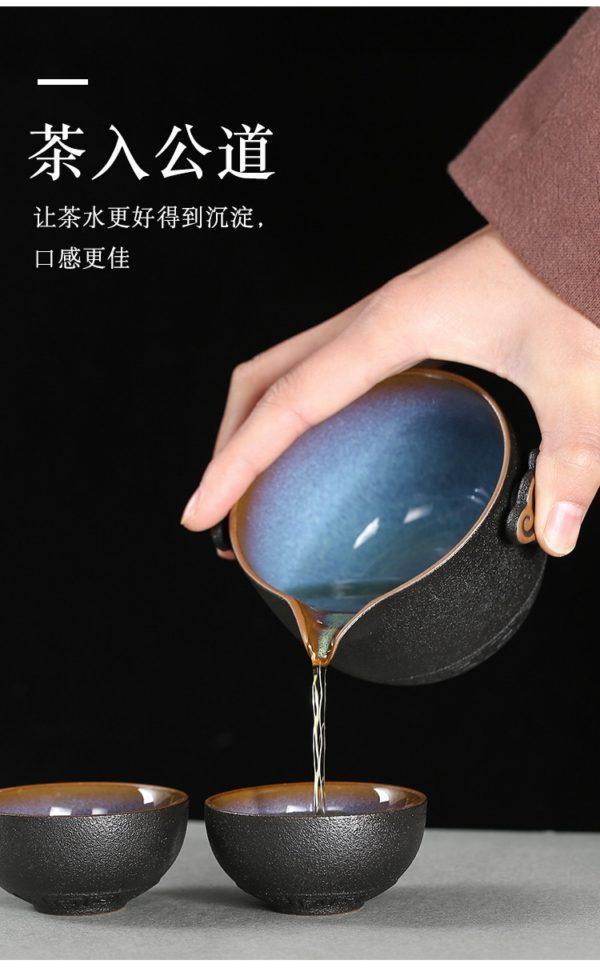 Travel Hand-Held Tea Set With Case (Black Pottery) 5 Teacups