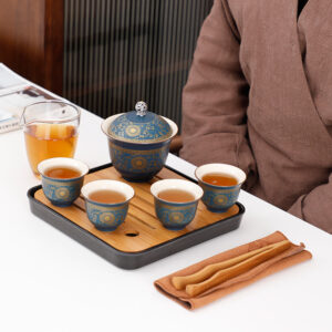 Golden Vine Lid Bowl Exclusive Travel Tea Set (4 Cups)